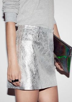 silver skirt and sweater by & other stories. Fashion Moda, Look Fashion, Street Fashion, Womens Fashion, Fashion Trends, Space Fashion, Fall Fashion, High Fashion, Looks Style