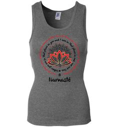 NAMASTE WE ARE ONE Om Lotus Mandala Circle * Bohemian Fashion Yoga T-Shirt - Red/Black Print