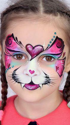 Cats face paint for kids 60 ideas Katzengesichtsfarbe für Kinder 60 Ideen Girl Face Painting, Face Painting Designs, Painting For Kids, Animal Face Paintings, Animal Faces, Maquillage Halloween, Halloween Makeup, Halloween Zombie, Zombie Makeup