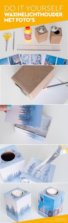 Leuk idee: waxinelichthouder met eigen foto. DIY: Do It Yourself (Nederlands). Inclusief gratis templates #fotografiediy #diy