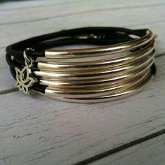 Boho Leather Silver Tube Beaded Wrap Bracelet// by DesignsbyNoa