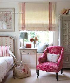 European influenced bedroom~ - My-House-My-Home Fresh Farmhouse, Modern Farmhouse, Home Bedroom, Bedroom Decor, Bedroom Blinds, Girls Bedroom, Bedroom Chair, Master Bedroom, Estilo Cottage