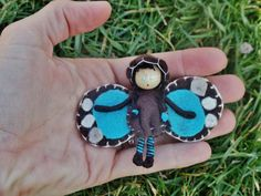 Waldorf Doll Bendy Doll Blue Morpho Butterfly Fairy Bug--Ready To Ship