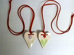 CERAMIC HEART ornament set of 2 Ornament by CeramicsAV on Etsy