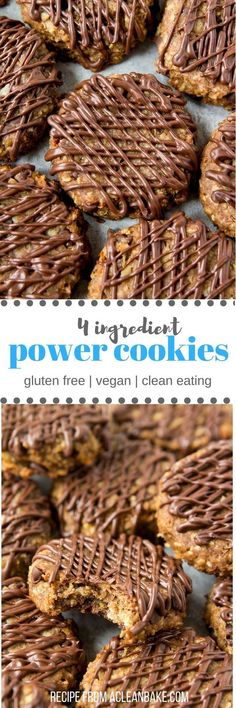 Clean eating - Dairy free - Egg free - Gluten free - Lactose free - Refined sugar free - Vegan - Four Ingredient Power Cookies will get you through the day! They're gluten free, vegan, egg free, dairy free and whole grain for lasting energy. Gluten Free Baking, Gluten Free Desserts, Dairy Free Recipes, Vegan Desserts, Vegan Recipes, Plated Desserts, Diet Recipes, Easter Desserts, Protein Recipes