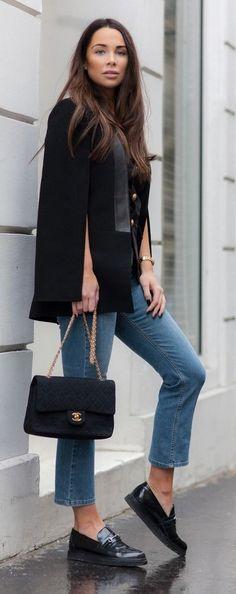Black Gold Button Cape Blazer, Denim, Black Chamel Bag, Black Bag   Johanna Olsson                                                                             Source