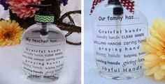 """It seems that I am in constant need of thoughtful little gifts. This 8 oz soap bottle is perfect for anyone on your """"gift list"""" (including you)! This is a gift that will get used everyday—over and over and over—and won't break the bank! I give these to my kids' teachers, neighbors (they make adorable house warming gifts), brides to be, extended family as birthday and Christmas gifts, and fellow church members.You can personalize the top line with any name or saying you choose—up to 20 ..."""