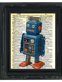 """Dictionary Art Print - Retro Robot Toy - Printed on Recycled Vintage Dictionary Paper - 8.5""""x11"""" - Mixed Media Poster on Vintage Dictionary Page"""