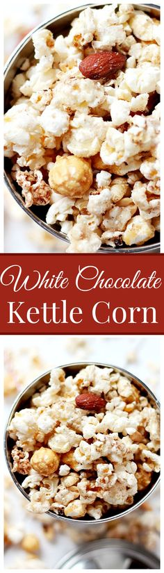White Chocolate Kettle Corn - Delicious and festive Kettle Corn covered in melted white chocolate, brown sugar and cinnamon.