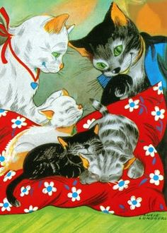 The triplets Tail (Pelle Tail # 10) by Gösta Knutsson Published 1948 by Albert Bonniers Förlag Vintage Cat Family