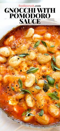 Gnocchi with pomodoro sauce foodiecrush com gnocchi pomodorosauce homemade sauce recipes easy his simple tomato sauce gets tons of flavor from herbs steeped in olive oil that lusciously coats potato pillows of gnocchi topped with fresh balls of mozzarella Tasty Vegetarian Recipes, Vegetarian Dinners, Veggie Recipes, Chicken Recipes, Tasty Pasta Recipes, Veggie Italian Recipes, Healthy Vegetarian Dinner Recipes, Healthy Potato Recipes, Vegetarian Sandwiches