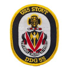 USS Solid Border Patches - USS Stout