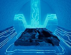 tron themed suite at the icehotel in jukkasjarvi, sweden....um, cool