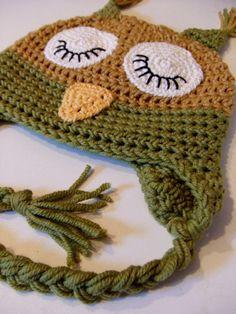 Crocheted Baby Hat - Sleepy Owl