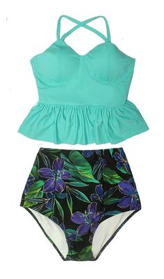 Mint Long Peplum Tankini Top and Paisley Flora by venderstore