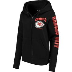 27873f78e52189 Kansas City Chiefs New Era Women s Playbook Glitter Sleeve Full-Zip Hoodie  - Black