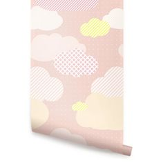 Clouds Pink Peel and Stick Fabric Wallpaper Repositionable