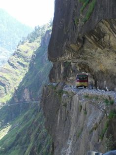 I can't even look at the picture...let alone think of driving the 'road'. gack Kinnaur, Himachal Pradesh, India