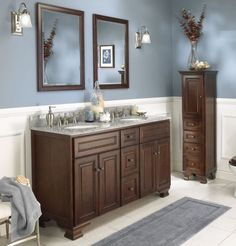 Brown and light blue bathroom accessories wall decor bath rugs home Orange Bathroom Decor, Brown Bathroom, Simple Bathroom, Bathroom Colors, Narrow Bathroom, Modern Bathroom, Cheap Bathroom Vanities, Bathroom Vanity Designs, Cheap Bathrooms