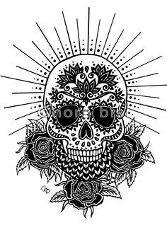 Sugar Skull design, I like the halo and the chevron pattern