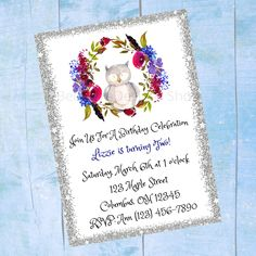 Personalized Woodland Owl Birthday Invitation - Girls Boys Childrens Printable Birthday Invite - Digital Print Email Text Owl Birthday Invitations, Custom Baby Shower Invitations, Personalized Invitations, Childrens Wall Art, Online Printing Companies, Baby Wall Art, Types Of Printer, Pattern Paper, Special Day