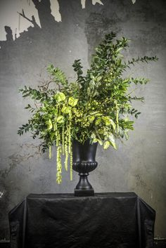 Textured abundant green urn.  Flowers by Melbourne Wedding florist Floretta