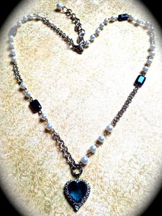 Vintage Blue Heart Pendant Necklace by JNPVintageJewelry on Etsy