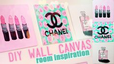 DIY Room inspiration Decor | Chanel, MAC, Designer Paintings. You Need: 3 Canvases, 4 set paint brushes, acrylic paints, Water to loosen the paint, Old sheet to cover my surroundings, Paper plates to pour paint in, Pencil, Scissors, Channel Template, Perfume Bottle Template,