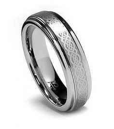 best price 8: Top Value Jewelry - Women Tungsten Wedding Band, Her Celtic Tungsten Carbide Ring, Titanium Color, Step High Polish Edge, 5MM (size 5-8) - Half Sizes Available cheap price anniversary rings