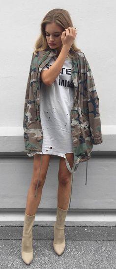 street style inspiration jacket + t shirt + heels