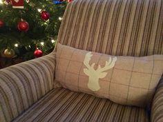 Handmade Stag head appliqué cushions