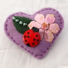 Ladybird springtime heart brooch - unique, hand sewn and ideal for brightening up your outfit, bag or accessories.  £6.00 + p