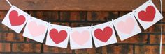 Heart Banner/ Garland - Valentine's Decor, Valentine's Day