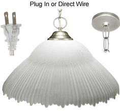 "White Frost Alabaster Glass Nickel Silver Finish Metal Modern Pendant Light Swag Lamp Plug In or Direct Wire 14""-16"" Wide"