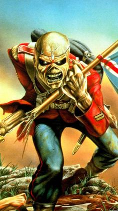 Music Wallpaper : Iron Maiden - The Trooper Iron Maiden Mascot, Iron Maiden The Trooper, Rock Band Posters, Rock Poster, Heavy Metal Rock, Heavy Metal Bands, Iron Maiden Cover, Eddie Iron Maiden, Iron Maiden Albums
