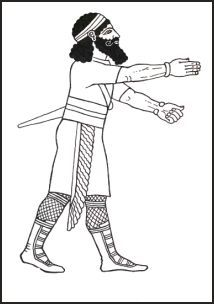 Assyrian hunter witha shorter tunic and small shawl to enable greater activity. http://www.fashion-era.com/ancient_costume/assyrian_clothing_pictures_assur.htm#King_Assur-nasir-pals_draped_Shawl_Pattern_Guideline_