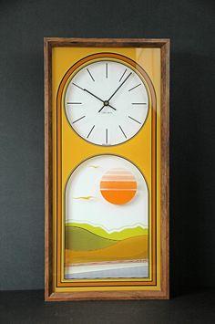 VINTAGE Mid century Wall CLOCK/Eames Danish Modern Design/Verichron Made in USA