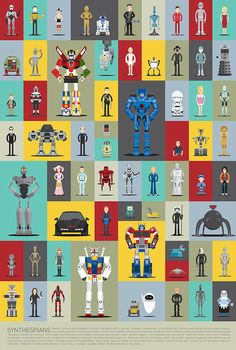 Synthespians, Illustrated Versions of 66 Famous Robots From Movies & Television Shows