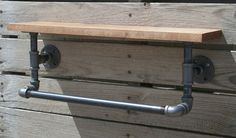 Industrial Pipe Towel Rack with Hardwood Shelf por Splinterwerx, $100.00