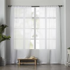 """Master Bedroom - Super simple white linen sheer to make room look complete. Need 96"""" or 98"""" length. $109 for two."""