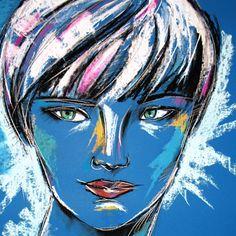 ANAIS  KATARZYNA RADZKA . RYSUNKI I GRAFIKI  Rysunek wykonany pastelami suchymi, węglem i ołówkiem na brystolu.