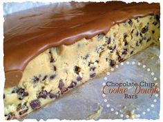 I MUST find a way to make this gluten free!!  Life's Simple Measures: Chocolate Chip Cookie Dough Bars