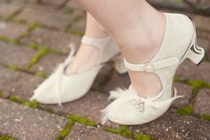 Feather adorned shoes by Marsha Hall - Golden 20s Great Gatsby Wedding Inspiration Shoot