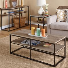 Updated your living room with the contemporary style and versatility of the Piazza coffee table from Simple Living. Featuring two shelves with a natural reclaimed wood finish and a simple black metal