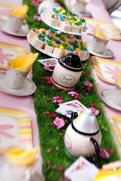 Alice in Wonderland tea party table runner by Erika Luiza. love the grass!!