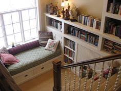 Switchback stair library inspired by Sara Susanka's Not So Big House.