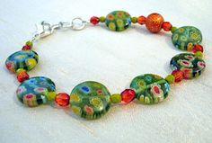 Bracelet - Spring #Green, Flame #Orange Glass Flora $29