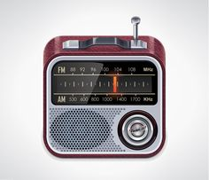 XOO Plate :: Red Retro AM/FM Radio Vector Icon - Classy red vintage AM/FM radio icon with antennae and metal effects - vector EPS. Tune in, thx for sharing
