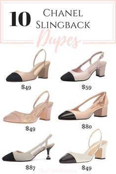 10 Incredible Chanel Slingback Dupes That Rival The Real One.- 10 Incredible Chanel Slingback Dupes That Look Like The Real Thing (But Are More Affordable! Chanel Outfit, Chanel Shoes, Chanel Fashion, Fashion Shoes, Chanel Clothing, Chanel Sandals, Chanel Style, Cheap Fashion, Fashion Fashion