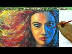 Acrylic Portrait Painting Tutorial on How to Paint Colorful Portrait of Beautiful Lady with Red Hair - YouTube